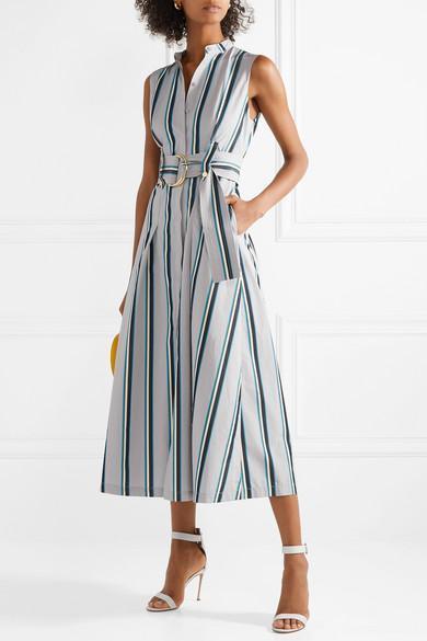 77cab8bbfb0 Diane Von Furstenberg Striped Sleeveless Belted Maxi Dress In Gray ...