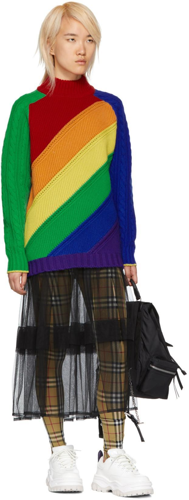 031c39fa119 Burberry Color-Block Wool And Cashmere-Blend Sweater In Blue