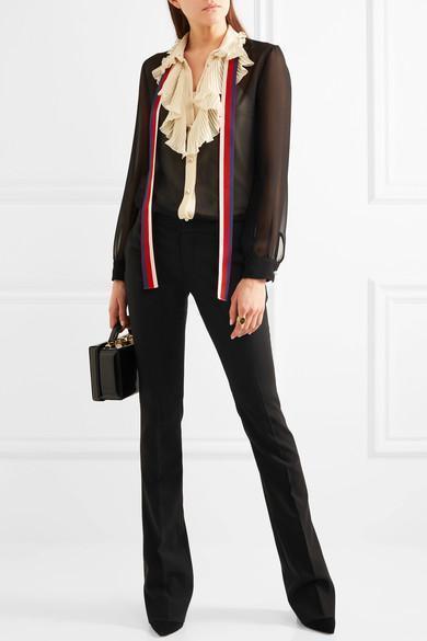 038237cdb Gucci Silk Georgette Shirt W/ Plisse Details, Black/Ivory In Llack ...