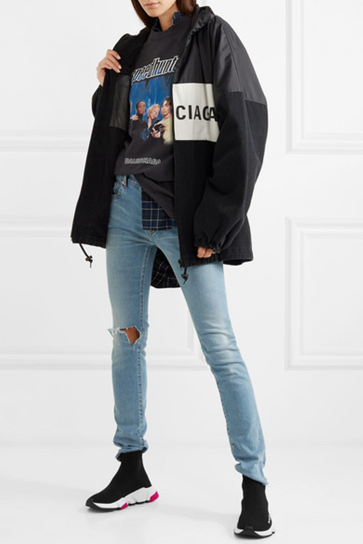 73fecae408d2 Balenciaga Nylon And Denim Logo Zip-Front Jacket, Black | ModeSens