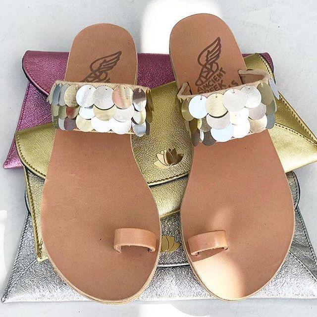 01fb6e1fb9f4e ANCIENT GREEK SANDALS Ancient Greek Leather Sandals Thraki With Golden And Silver  Sequins in Metallic