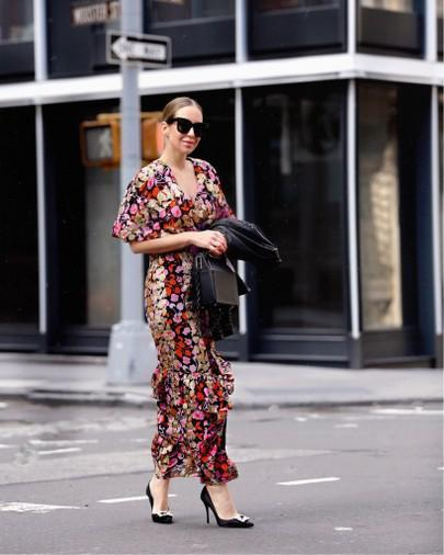 7994b1a45d98 Saloni Cape Overlay Metallic Floral Midi Dress In Multi   ModeSens
