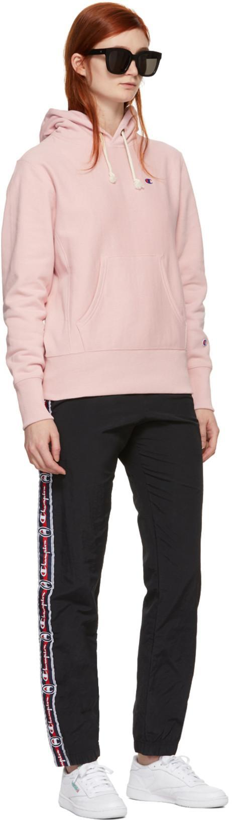 3bacc60c CHAMPION Champion Reverse Weave Pink Small Logo Warm-Up Hoodie in Cbs Ps066