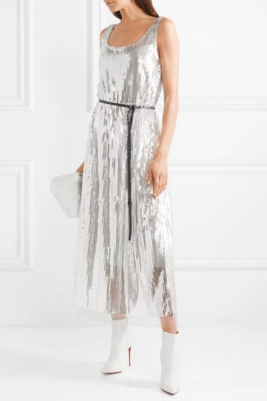 MARC JACOBS Scoop-Neck Sleeveless Mirrored-Sequins Belted Cocktail Dress in  Silver 23688ec2c