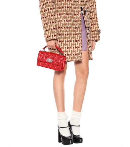 30545fb3b2c18 Miu Miu Tweed Cocoon Coat In Brown