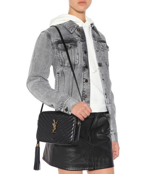 ccc114cd84d SAINT LAURENT Loulou Monogram Ysl Medium Chevron Quilted Leather Camera Shoulder  Bag - Black Hardware in