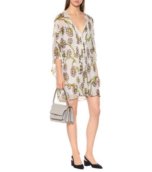 698ac773db2da DIANE VON FURSTENBERG Fleurette Floral Silk Shirred Coverup Dress in White