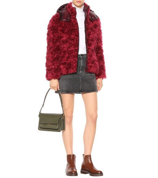 04c0927eb Moncler Badyp Mohair-Blend Puffer Jacket W/ Contrast Hood In Red ...