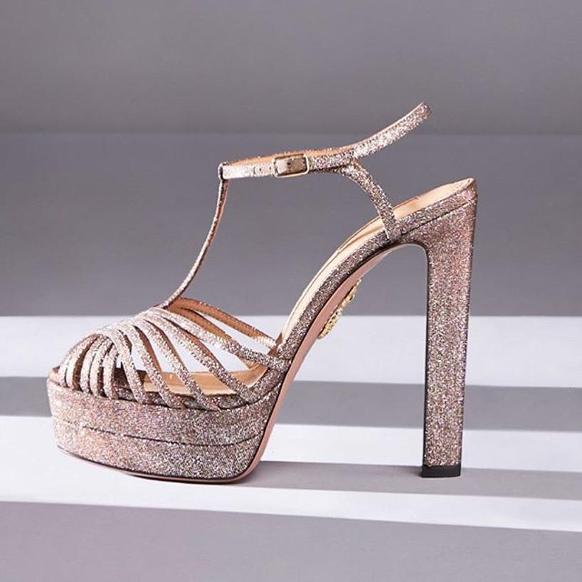 c3e7fc67485 AQUAZZURA Moonlight Metallic Fabric Platform T-Strap Sandals in Silver