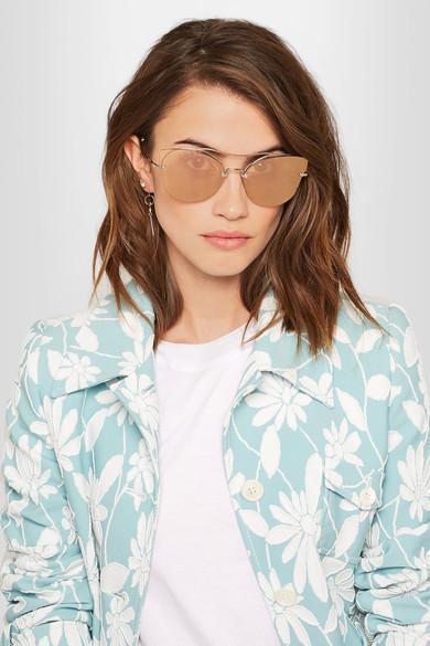 1bd03467e76e Miu Miu Mu52Ss Butterfly Frame Half-Rim Sunglasses In Pale Gold ...