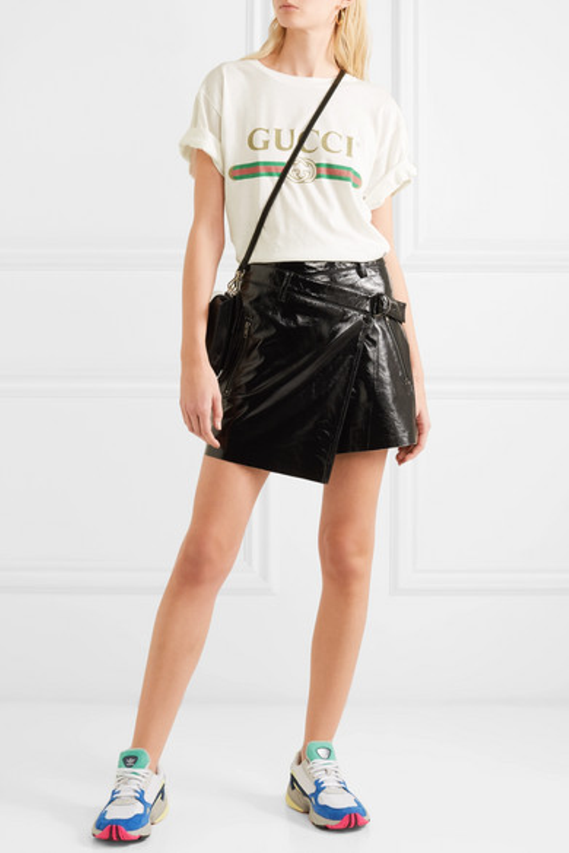 7dff2a8acb Ksubi Textured Patent-Leather Wrap Mini Skirt In Black | ModeSens
