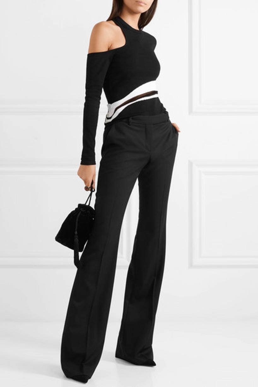 bcf6d0c275c9e CUSHNIE ET OCHS Sarina Long Sleeved Single Cold Shoulder Top in Black
