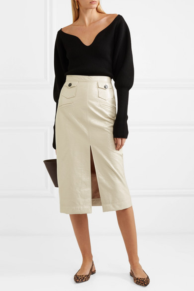 69db4a4e6057 Alexa Chung Faux Patent-Leather Pencil Skirt In Cream