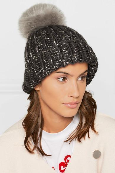 d9cea6df5c7 Eugenia Kim Rain Faux Fur-Trimmed Chunky-Knit Wool Beanie In Gray ...