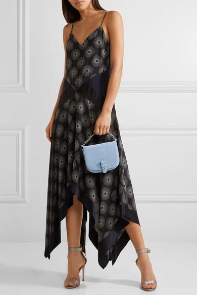 f205b69ecaa DIANE VON FURSTENBERG Silk Satin-Paneled Printed Crepe Midi Dress in Fenton  Black   Alex