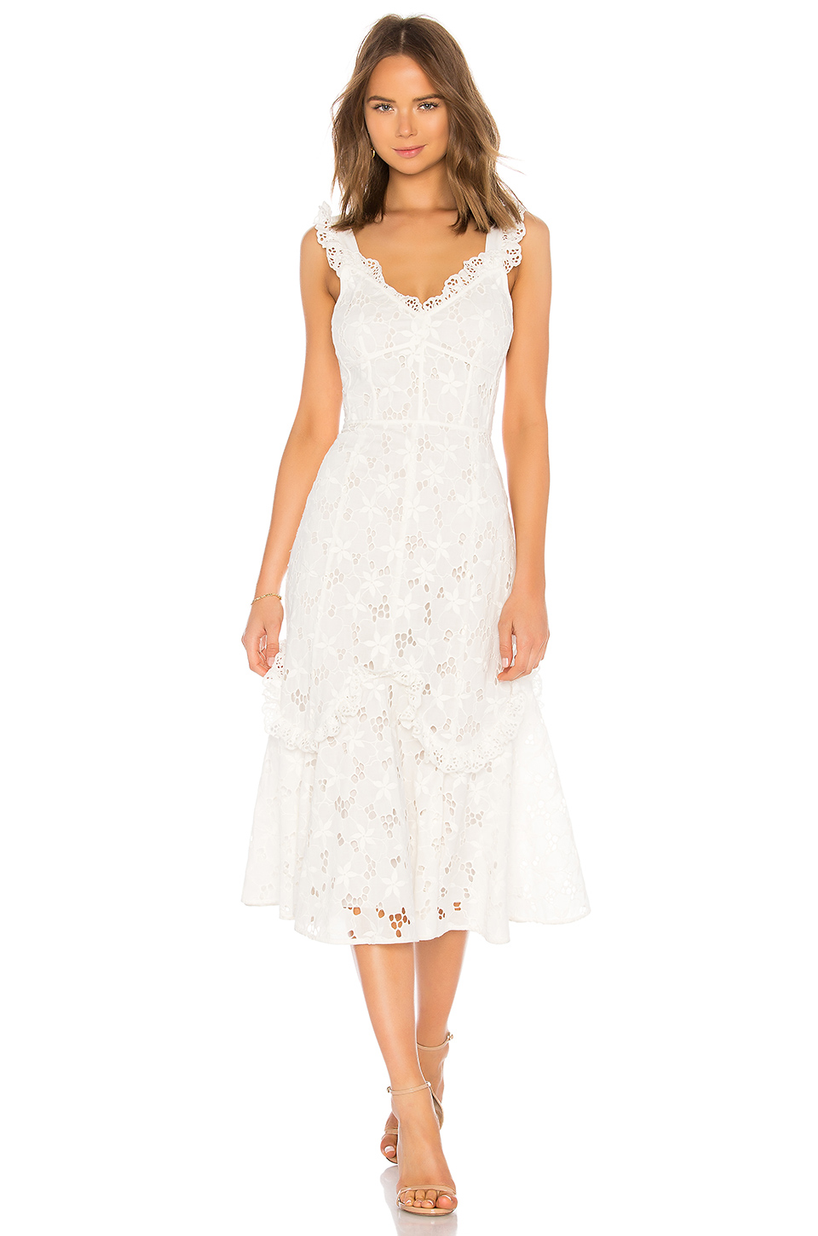 d97616ea8dcd Rebecca Taylor Adriana Eyelet Lace-Up Midi Dress In White