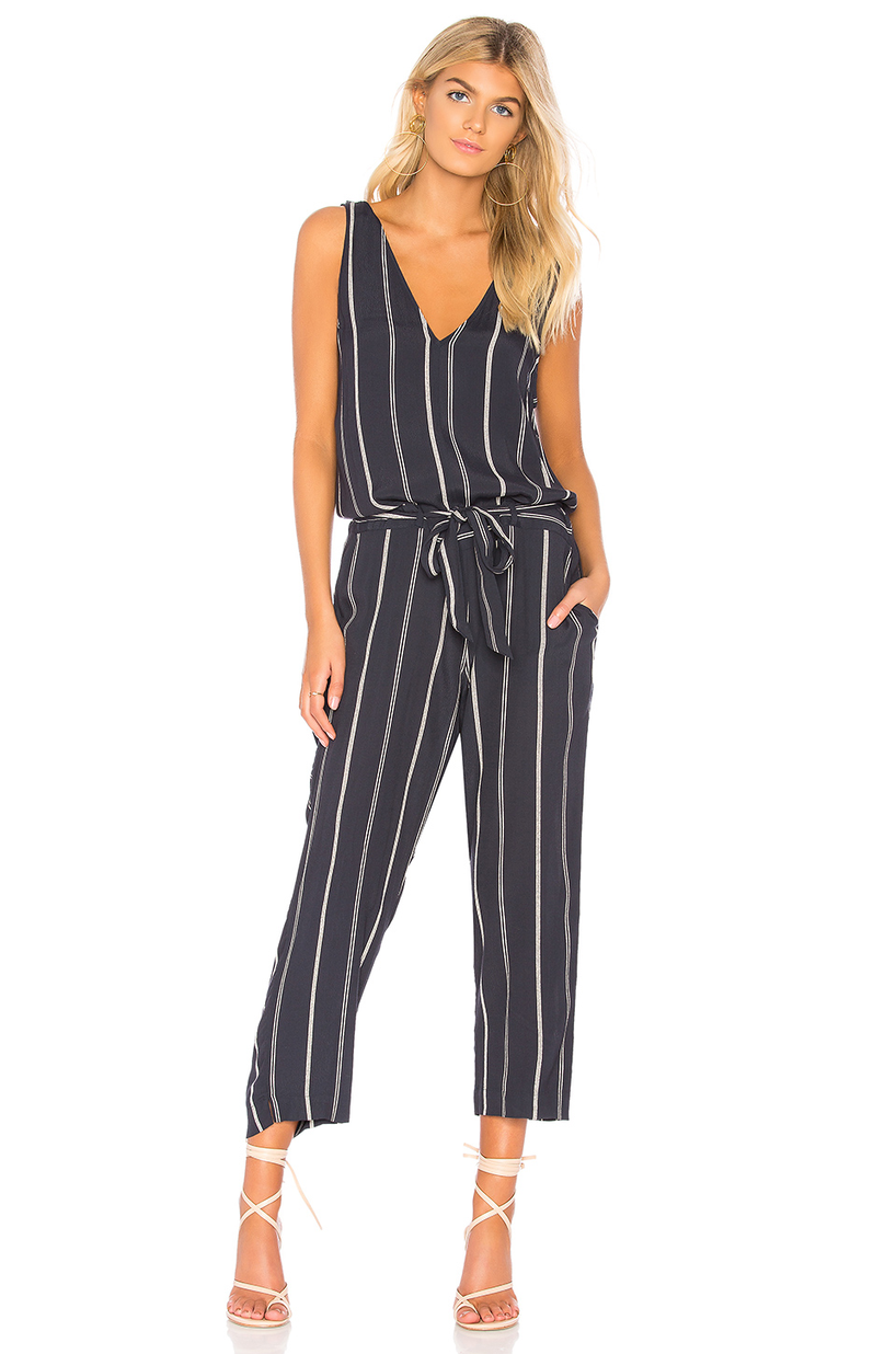 aa647d1e73f Rails Hallie Striped Cropped Belted V-Neck Jumpsuit In Navy