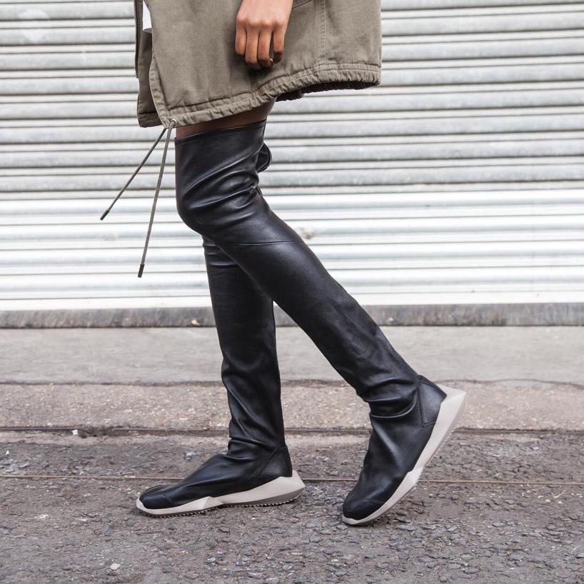 1d23099dbc9 RICK OWENS Black Adidas Edition Stretch Tech Runner Over-The-Knee Boots
