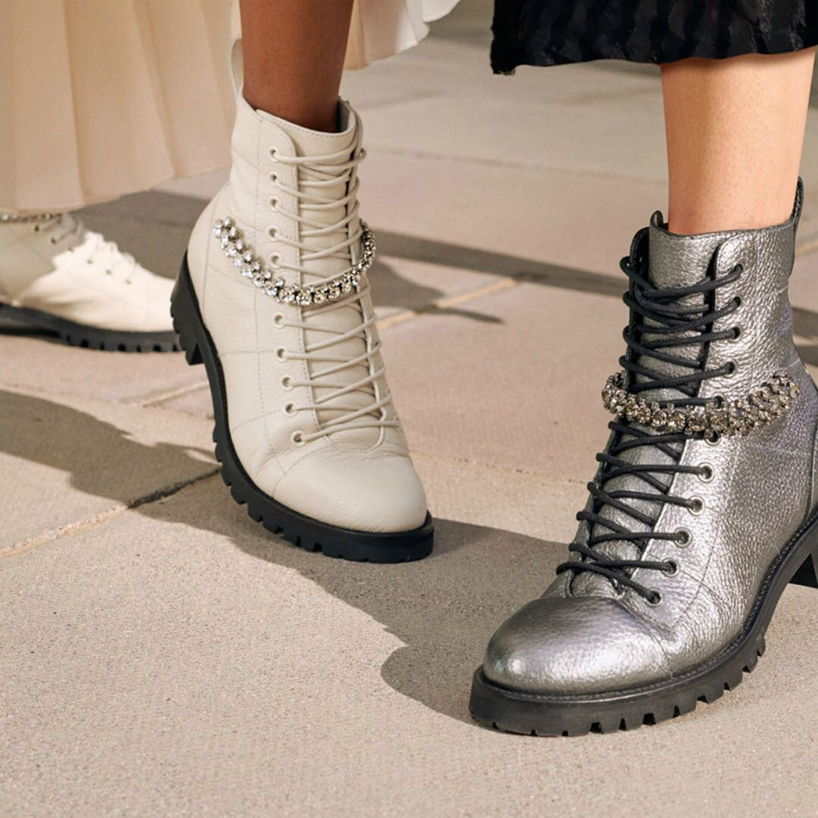 a888649d0a4 JIMMY CHOO Cruz Flat Black Grainy Leather Combat Boots With Crystal  Detailing