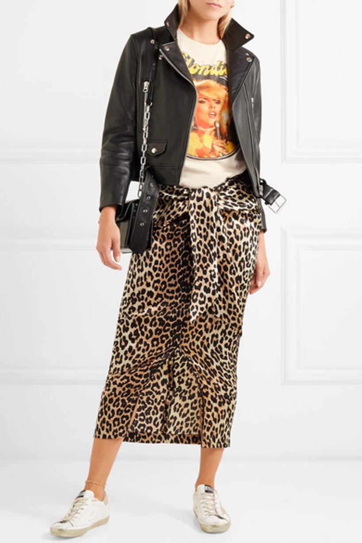 1f4508c70 GANNI Black And Brown Calla Leopard-Print Stretch-Silk Midi Skirt in Leopard  Print