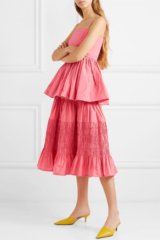 19da2d26c7e Molly Goddard Imogen Taffeta Peplum Top In Pink | ModeSens