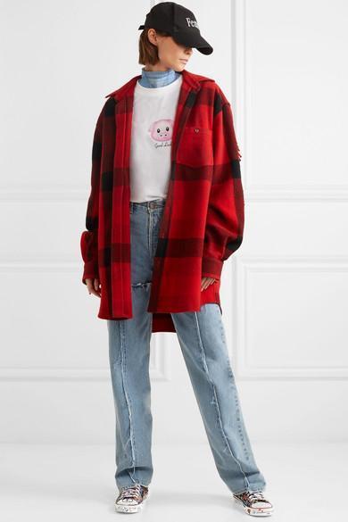 b137f730e6c VETEMENTS Printed Two-Tone Stretch-Cotton Jersey Bodysuit in Light Denim