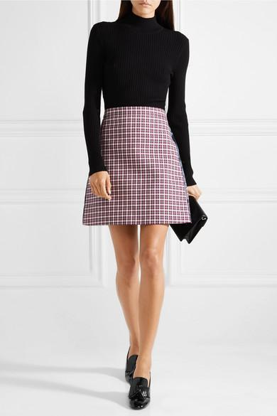 a23b46b51 Burberry Satin-Trimmed Checked Cotton-Blend Mini Skirt In Red | ModeSens