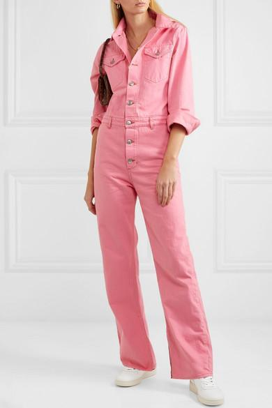 bb282725 Ganni Washed Cotton Denim Jumpsuit In Pink   ModeSens