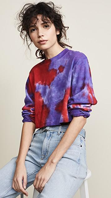 7e78193c7cb COTTON CITIZEN Tokyo Crop Long Sleeve Shirt in Cherry & Lavender Tie Dye