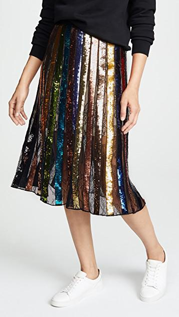 9149343158 ALICE AND OLIVIA Tianna High-Rise Sequin Lace Midi Skirt in Black/Multi