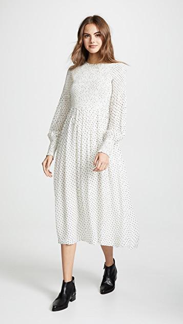 f09decee3949 Ganni Rometty Smocked Printed Georgette Midi Dress In Black | ModeSens