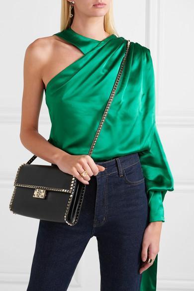 8ea3dfec10385 Hillier Bartley One-Shoulder Draped Silk-Satin Blouse In Green ...