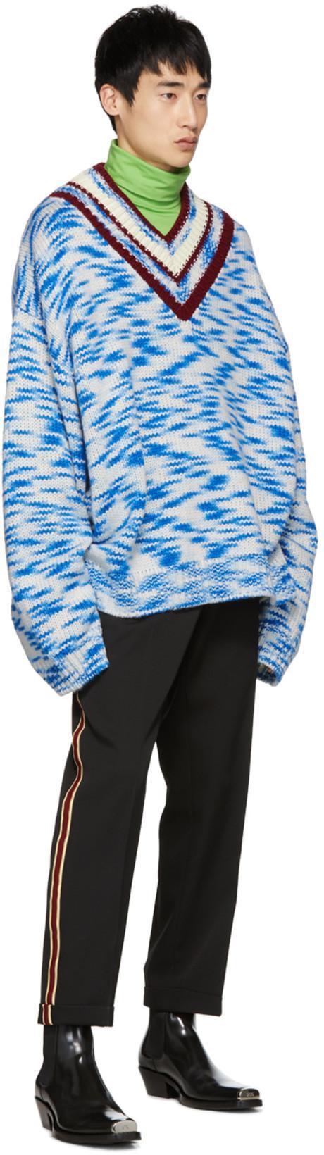 5903337188 CALVIN KLEIN 205W39NYC Calvin Klein 205W39Nyc Oversized V-Neck Printed  Sweater - Multicolour