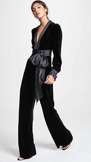 17c9aab060d DIANE VON FURSTENBERG Velvet Long-Sleeve V-Neck Jumpsuit W  Sash in Black