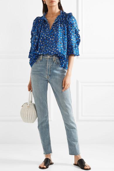 e52e30cf188d ULLA JOHNSON Lillian Ruffled Floral-Print Cotton And Silk-Blend Blouse in  Blue