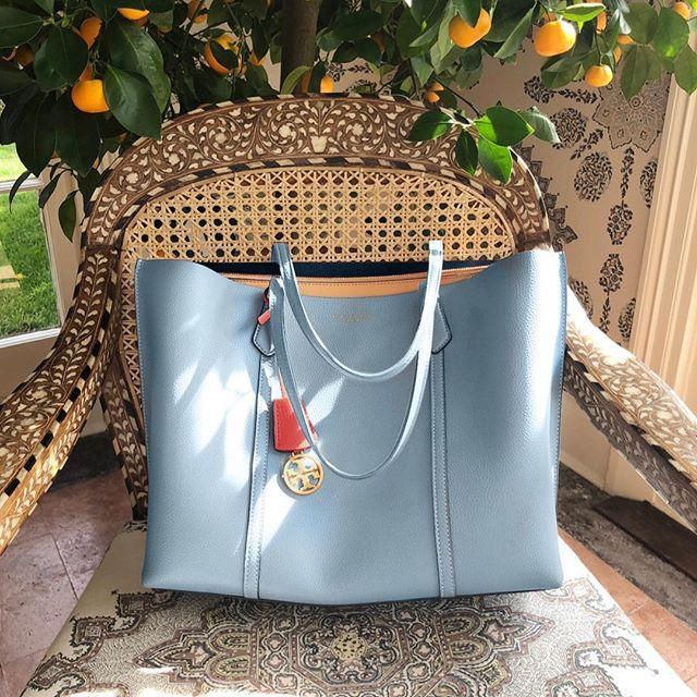 ab2ba65935c4 Tory Burch Perry Leather 13-Inch Laptop Tote In Cloud Blue