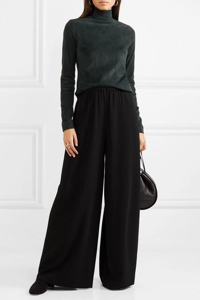 ab36f42f165 The Row Pavel Crepe Wide-Leg Pants In Black