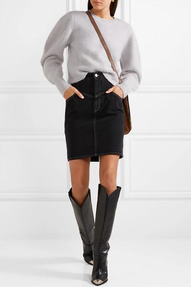 8784c274811 Isabel Marant Lenskee Metal-Trimmed Leather Knee Boots In Black ...