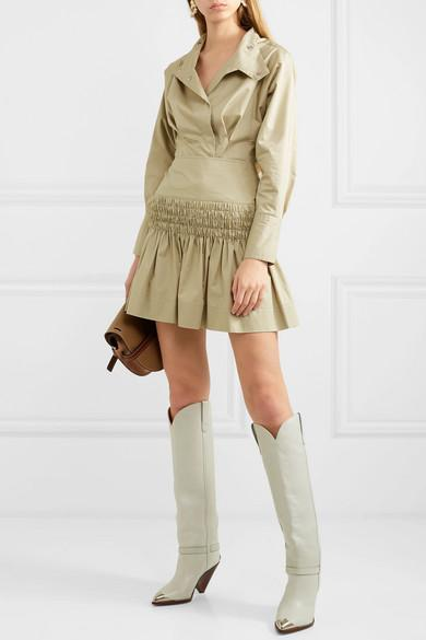 1bb0775d942 Isabel Marant Lenskee Metal-Trimmed Leather Knee Boots In White ...