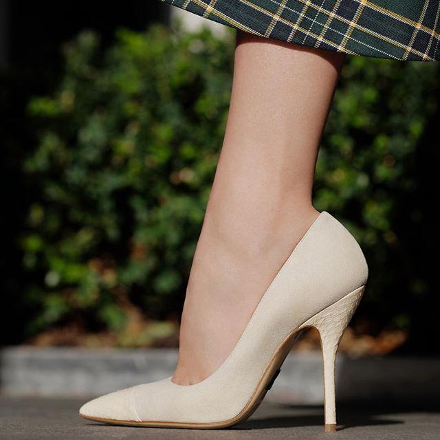 57f69fd009a Paul Andrew Pump It Up Canvas Patent Cap-Toe Pumps In Cream