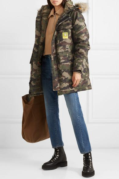 69cdfa824b42d BRUMAL Hooded Faux Fur-Trimmed Camouflage-Print Shell Down Parka in Army  Green