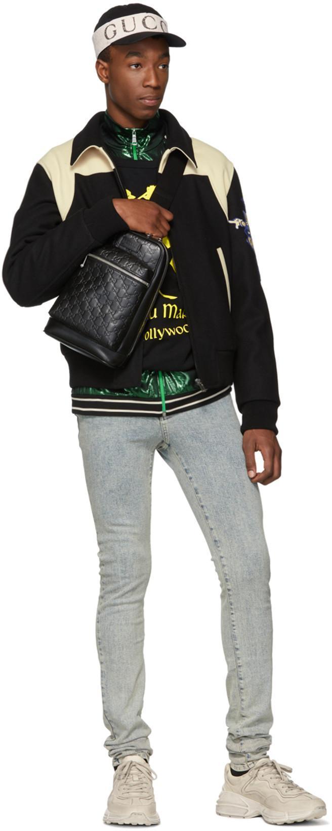 9a8637ea59e GUCCI Gucci Black Gg Single Strap Backpack in 1000 Black