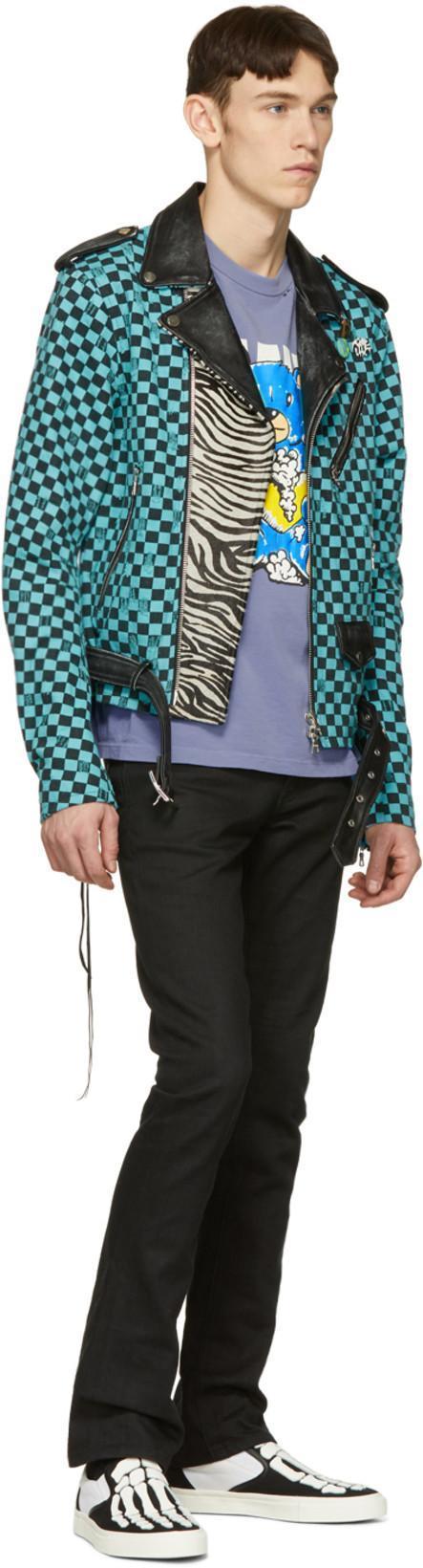 1897f7d34 Amiri Artist Checkered Denim And Leather Biker Jacket In Blue | ModeSens