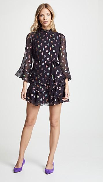 d2c087ea0163b Saloni Marissa Mini Dress In Black Rainbow | ModeSens