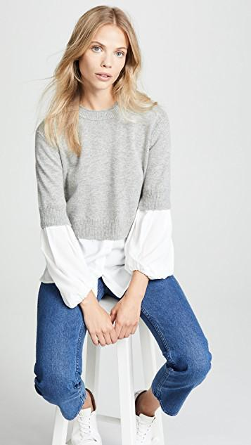 7283f133d92 Brochu Walker Ebele Layered Crew Sweater In Sterling With White ...