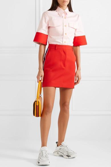 73ba1d2dbc Calvin Klein 205W39Nyc Striped Wool-Twill Mini Skirt In Red | ModeSens