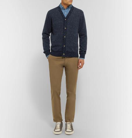 e14c27ef87 BRUNELLO CUCINELLI Slim-Fit Cutaway-Collar Washed-Denim Shirt - Mid Denim