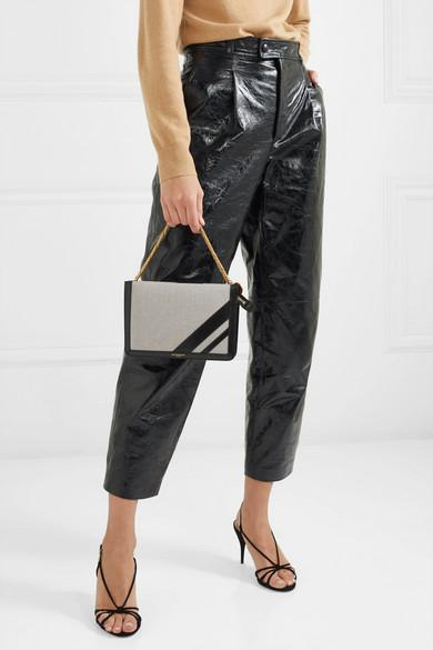 be029dd2e5ef GIVENCHY Gv Cross Suede-Trimmed Canvas And Textured-Leather Shoulder Bag in  Black