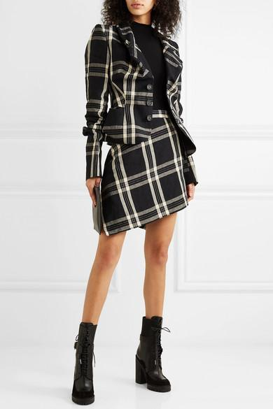 ddb36d616d VIVIENNE WESTWOOD Infinity Wrap-Effect Asymmetric Tartan Organic Linen Mini  Skirt in Black