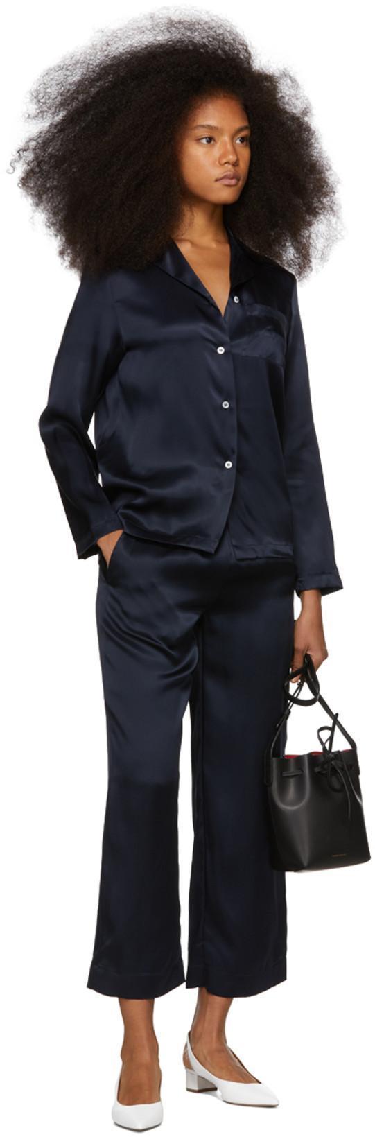 2f41be14f1468 MANSUR GAVRIEL Mansur Gavriel Navy Silk Flowy Pajama Shirt in Blu